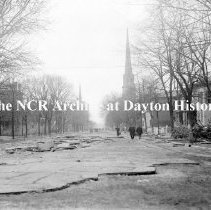 Image of NCR.1998.CD21.23 - Glass negative - Flood -Ludlow St. looking south , Dayton, OH 1913
