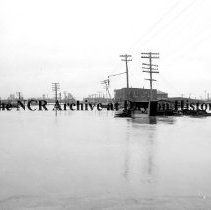 Image of NCR.1998.CD21.28 - Glass negative - Flood -First & Keowee St.-highest water, Dayton, OH 1913