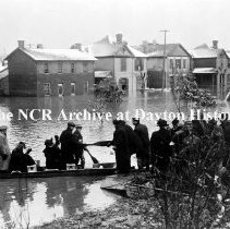 Image of NCR.1998.CD21.29 - Glass negative - Flood -Rescuing people from flooded homes, Dayton, OH  1913