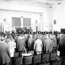 Image of NCR.1998.CD21.31 - Glass negative - Flood -Meeting in NCR Industrial Hall, Dayton, OH  1913