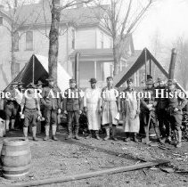 Image of NCR.1998.CD21.39 - Glass negative - Flood -Soldiers & tents, Dayton, OH  1913