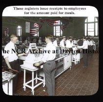 Image of NCR.1998.CD23.06 - Lantern-slides - NCR -Register issues receipts for meals, Dayton, OH Interior