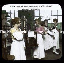 Image of NCR.1998.CD23.11 - Lantern-slides - NCR- Clean aprons & sleevelets are furnished, Dayton, OH Interior