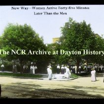 Image of NCR.1998.CD23.15 - Lantern-slides - NCR- New way - Women arrive 45 min. later, Dayton, OH