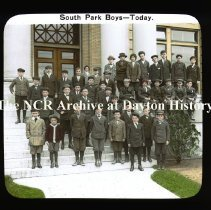 Image of NCR.1998.CD23.27 - Lantern-slides - NCR - South Park boys - Circa 1920, Dayton, OH Looks to have been taken in front of NCR Bldg. #10 Exterior