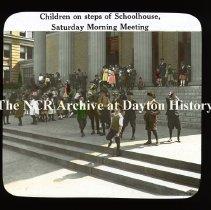 Image of NCR.1998.CD23.31 - Lantern-slides -  NCR - Children's Saturday Morning meeting, Dayton, OH Taken at NCR Schoolhouse Exterior