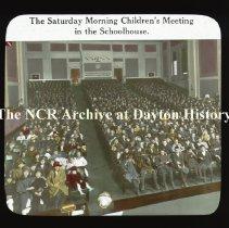 Image of NCR.1998.CD23.32 - Lantern-slides -  NCR - Children's Saturday Morning meeting, Dayton, OH Taken at NCR Schoolhouse Interior
