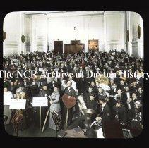 Image of NCR.1998.CD23.34 - Lantern-slides -  NCR- Flood prevention meeting - Schoolhouse, Dayton, OH 1913 Wellbrook Band Interior