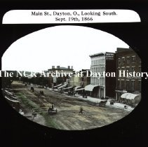 Image of NCR.1998.CD24.06 - Lantern-slides - Main St. looking south - Dayton Sept. 19, 1866 - Dayton, OH