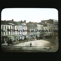 Image of NCR.1998.CD24.08 - Lantern-slides - North side of 3rd St. from Main -Dayton Circa 1866 - Dayton, OH