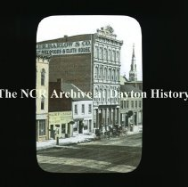 Image of NCR.1998.CD24.15 - Lantern-slides -   North on Main St. from 3rd St - Dayton, OH Circa 1866