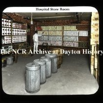 Image of NCR.1998.CD30.47 - Lantern-slides - Miami Valley Hospital - Store room, Dayton, OH Interior