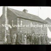 Image of NCR.1998.L0098.023 - Lantern Slide -  Visitors to NCR -  Mosley Commissionat Old Log Cabin,  Newcom Tavern, 1903, Dayton OH