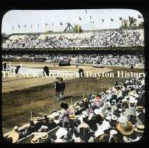 Image of NCR.1998.L0168.071 - Lantern Slides - Stockholm, Sweden - Saluting the King - Olympic Games - 1912  horse, horsemanship