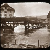 Image of NCR.1998.L0203.046 - Lantern Slides - Misc. Switzerland -Lucerne - Continental Bridge