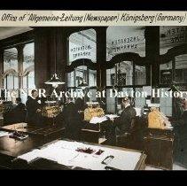 "Image of NCR.1998.L0273.003 - Lantern Slides - Stores in Germany - Office of ""Allgemeine-Zeitung (Newspaper) - Konigsberg"