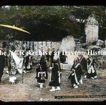 Image of NCR.1998.L0383.040 - Lantern Slides - Japan - Misc - Dancing Priest at funeral rite