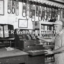 Image of NCR.1998.LRN245.027 - Safety Negative - Service Station- Bob Fulghum Humble Service Station, Ft. Worth, TX., June 2, 1953