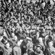 Image of NCR.1998.WAR1.1.04 - Photograph - World War I - Soliders waving hats in the air