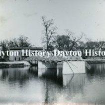 Image of P.1987.39.19 - Print, Photographic - 1913 Flood  - Bridge to White City Amusement Park (Island Park) washed out