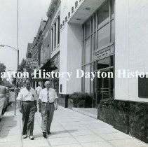 Image of P.2003.71.05713 - Photograph - Clinton County National Bank, Wilmington, OH - June 1959 M.E. Druley, Wilmington district manager, and downtown merchant Darrell French of Murphy Hardware Company.