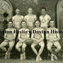 Image of P.2003.71.18911 - Photograph-  DP&L men's basketball team, Piqua, OH. 1929 standing from left: Vorhees, Ken Johnson, Ralph Crotinger seated: Vogt, Edsill, Muggs McGonigle, Bill Reid