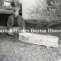 Image of P.2003.71.40648 - Negative, Film - Lockington, OH - Stone taken from canal - November, 1957