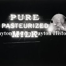 Image of P.2003.71.43353 - Negative, Film,- Scenes - Pure Pasturized Milk electric sign - Dayton,OH