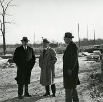 Image of P.2005.33.1199 - Photograph - Wright Memorial - Colonel Edward A. Deeds and Orville Wright during construction of memorial, Dayton, OH November 9, 1939