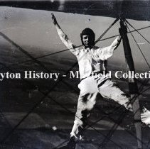 Image of P.2012.50.02799 - Glass-Plate Negative - Airplanes- Moraine, OH. wing walker, --no date