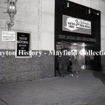 Image of P.2012.50.04248 - Negative, Film -  3rd National Bank - Open House - Open House - Entrance to bank - December 9, 1958