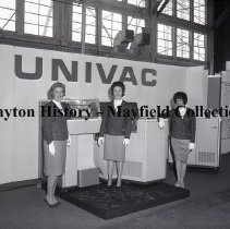 Image of P.2012.50.10874 - Negative, Film - UNIVAC Display at WPAFB, Group shot of Women - May 14, 1964