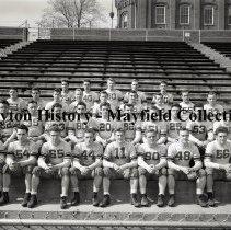 Image of P.2012.50.20268 - Negative, Film -  University of Dayton - Misc views - Men's sport team - Group photo, Football - March 7, 1937
