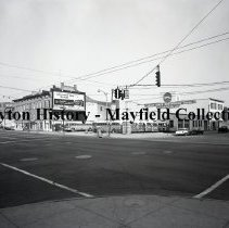 Image of P.2012.50.21670 - Negative, Film - East Third Street & south St. Clair Street - Greyhound Bus Office & Gentile Produce Company - June 30, 1959 Park & Grill Bar
