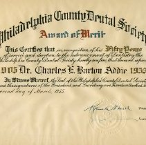 Image of Philadelphia Dental Society Certificate