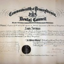 Image of Pennsylvania Dental Board Certificate