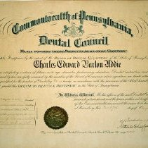 Image of Pennsylvania Dental Board Certificate - C. Barton Addie (1912)