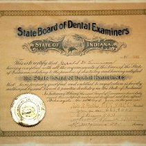Image of Indiana State Dental Board certificate