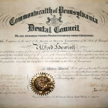 Image of Commonwealth of Pennsylvania Dental Council certificate
