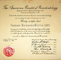 Image of Dr. Winter's Periodontia Board certificate