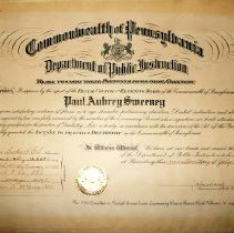 Image of Commonwealth of Pennsylvania Department of Public Instruction certificate