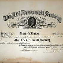 Image of J. N. Broomell Society certificate