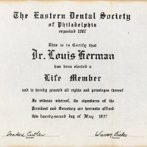 Image of Eastern Dental Society Life Member certificate