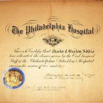 Image of Charles Addie's Philadelphia Hospital Diploma