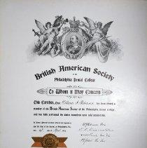 Image of William Robinson's British American Society certificate