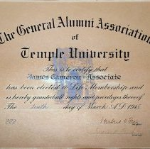 Image of Alumni certificate of James Cameron-Associate
