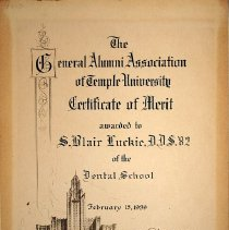 Image of Merit Certificate awarded to S. Blair Luckie