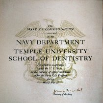 Image of Naval Commendation to Temple University School of Dentistry