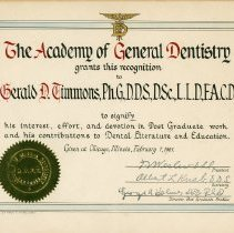 Image of The Academy of Genral Dentistry certificate