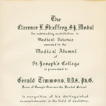 Image of Clarence E. Shaffrey, S.J. Medal certificate